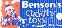 bensons cuddly toys logo and advertising