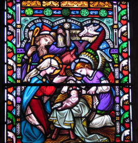 Nativity scene in stained glass Donny Minster