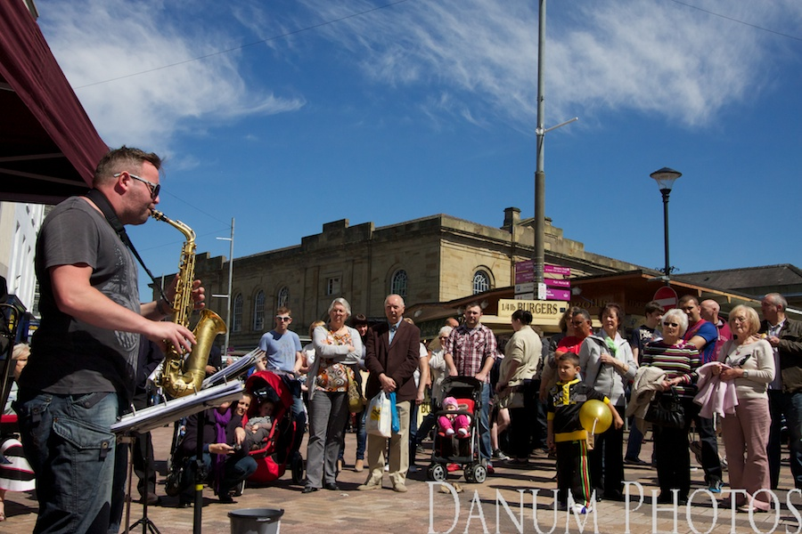 wonderful afternoon in Doncaster Market Place, with Jazz from the excellent Mark Ellis Quartet,