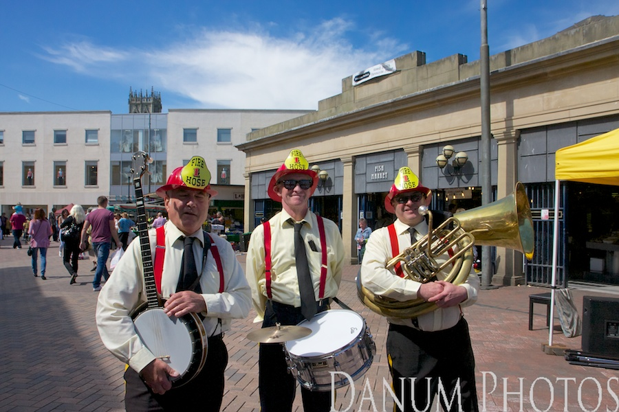 wonderful afternoon in Doncaster Market Place, with Jazz from the excellent Fire Hose 1