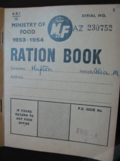Ministry of Food RATION BOOK 1953-1954