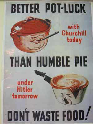 wartinme poster 2 cook pots one with churchills face on and other is hitler